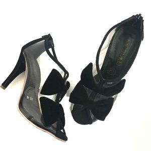 Shoes - Clear Patent Black Suede Bow Peep Toe Booties